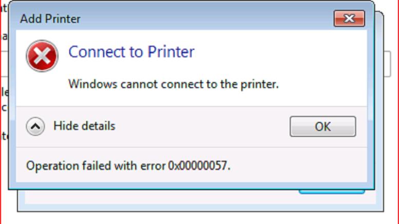 HP printer 0x00000057 error